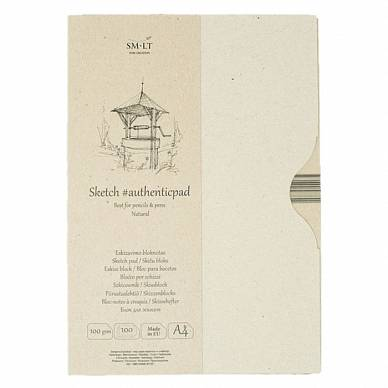 Альбом-склейка в папке SMLT SKETCH PAD Natural для эскизов (A4, 100л, 100г/м)